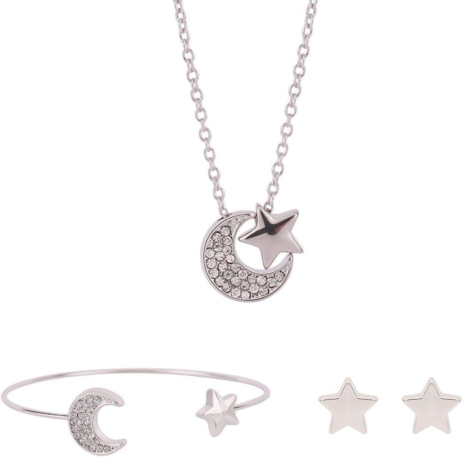 Leisial™ 3 Piezas Mujer Pulsera Pendientes Colgante Collar de Luna y Estrellas Elegante Cristal para Joyería Regalos de Boda Novia Cumpleaño