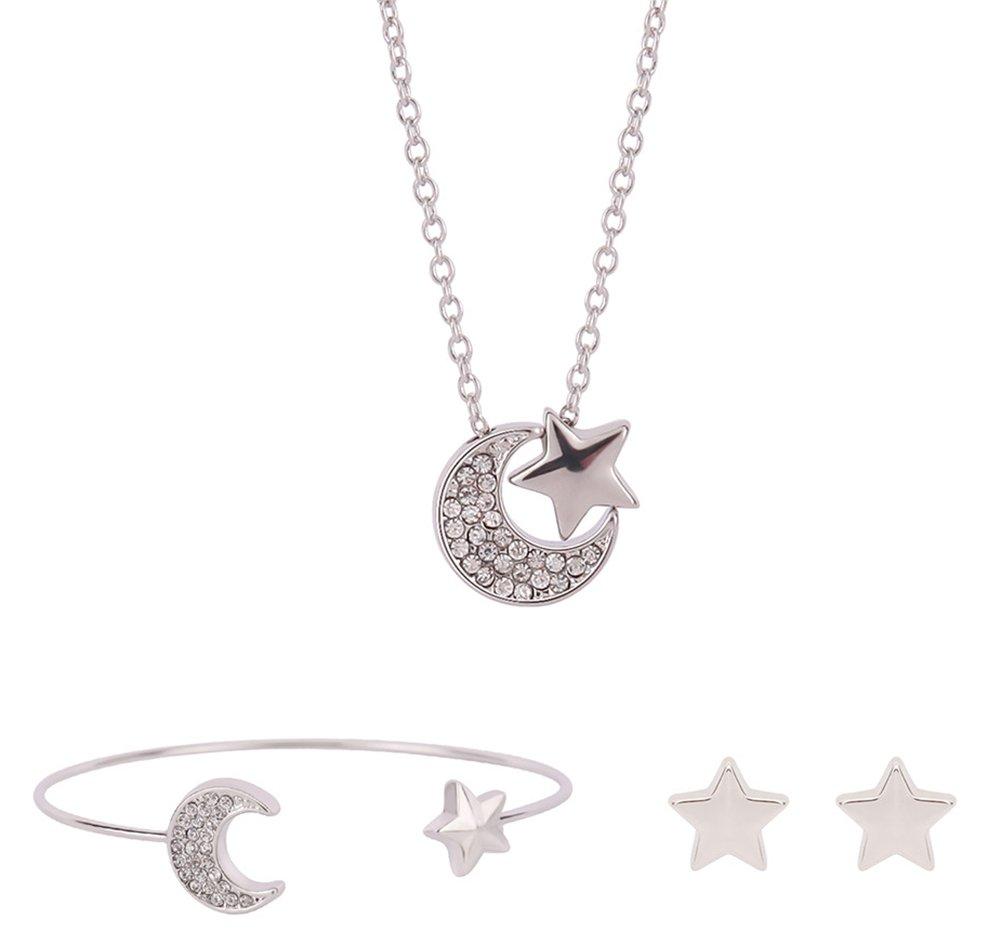 Gespout Collier Lune et étoiles Bijoux Ensemble Alliage Saint-Valentin Cadeau d'anniversaire Pendentif Collier + Boucles d'oreilles + Bracelet 267329VJ19IG5FD45