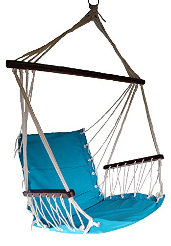 OMNI Patio Swing Seat Hanging Hammock Cotton Rope Chair With Cushion Seat (Blue) ()
