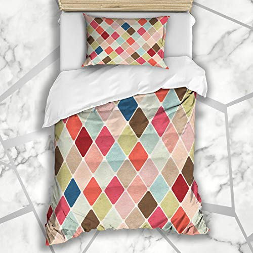 Six Argyle Twin Sock - Ahawoso Duvet Cover Sets Twin 68X86 Diagonal Beige Circus Retro Harlequin Abstract Pattern Vintage Argyle Diamond Coffee Color Microfiber Bedding with 1 Pillow Shams