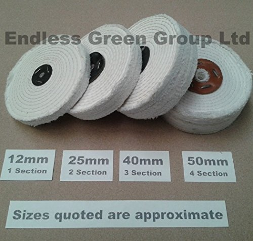 Bolpol STITCHED COTTON Buffing Wheel 150mm x 40mm Firm 3 Section Polishing Mop 8 x 1.5 C200//3