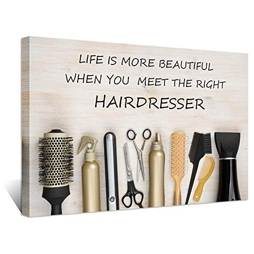 (Hello Artwork Large Hair Salon Inspirational Quotes Canvas Wall Decor Life is More Beautiful Meet Right Hairdresser Hairdressing Tools on Wooden Background Vintage Style Artwork for Barber Shop Decor)