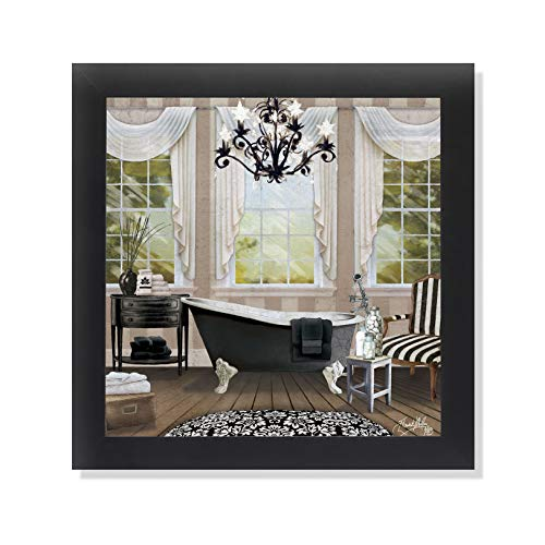 Chandelier Bath I Bathroom Black Framed Art Print Poster 12×12
