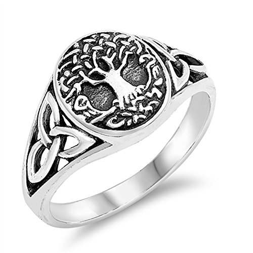 Life Celtic Knot - Antiqued Celtic Tree of Life Knot Filigree Ring Sterling Silver Band Size 5