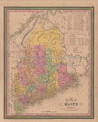 Maine Vintage Map Mitchell 1853 Original Decor History Housewarming Gift Ideas ()