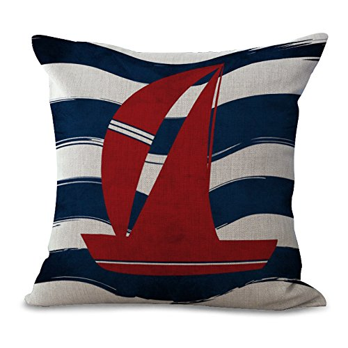 Miracle Dec Sailing Boat Pattern Linen Polyester Square Sofa Throw Pillow Cushions (18