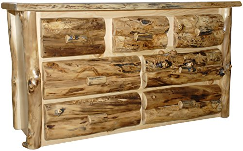 Rustic Aspen Log 7 Drawer Dresser ()