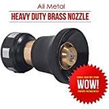 Fireman Style Hose Nozzle Heavy Duty Brass Nozzle - All Metal Core Superior Quality Gently Spray Flowers Or Use High Pressure Sprayer To Wash Your Car By FlowLosity