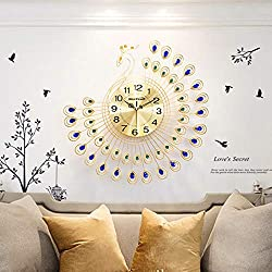 NEOTEND 3D Wall Clock Peacock 40pcs Diamonds Decorative Clock Diameter 25.6 Inches Gold