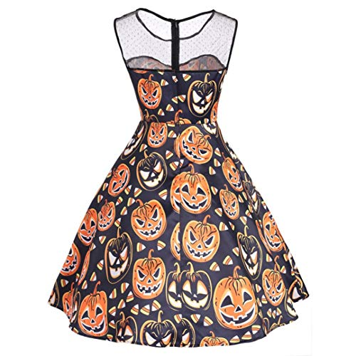 Women Halloween Party Dress Lace Short Sleeve Vintage Gown Pleated Maxi Sundress (S, E) by iQKA (Image #1)