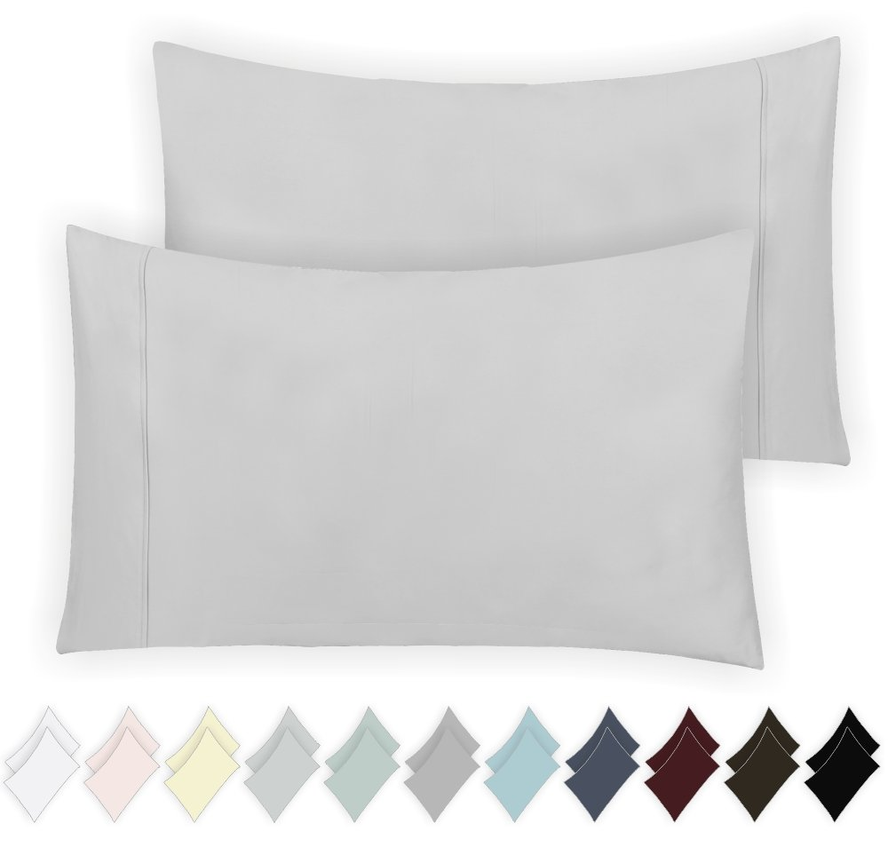 California Design Den 400 Thread Count 100% Cotton Pillow Cases, Light Grey Standard Pillowcase Set of 2, Long - Staple Combed Pure Natural Cotton Pillowcase, Soft & Silky Sateen Weave by