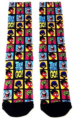 DC Comics Teen Titans Go! Cartoon Faces Sublimated Crew Socks (Shoes Titans Teen Go)