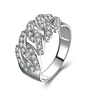 Daesar Ring Cubic Zirconia Engagement Chain Ring Round White Cubic Zirconia Ring Size 9.5
