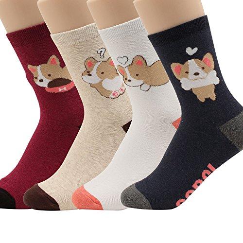 WOWFOOT Women Girls Sweet Animal Zoo Cute Funny Novelty Crew Dog Cat Owl Penguin Socks (So Cute-4 - Apparel Cute Dogs