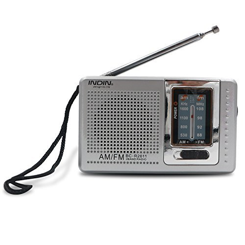 INDIN BC-R2011 AM / FM Portable Pocket Radio-Best reception and Longest Lasting. designed for life and convenience ?mini AM FM Radio Operated by 2 AA Battery, perfect and best gift to family (Silver)