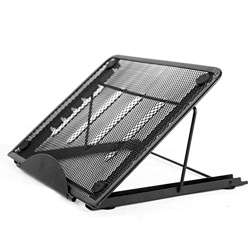 rateim Ventilated Adjustable Laptop Stand, Multi-Function 6 Level Adjustable Height and Foldable Metal Mesh Stand Rack for Pad Notebook Painting ()