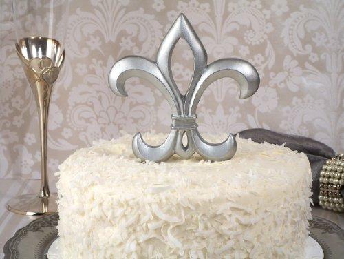 1 X Silver Fleur De Lis Cake Topper Wedding Set ()
