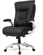 Moustache Big and Tall High-Back Executive Bonded Leather Chair for Office or Computer Task Desk, 400 lb Weight Capacity, Adjustable Swivel Basic Chair with Flip Armrest, Arms Rest (Black)