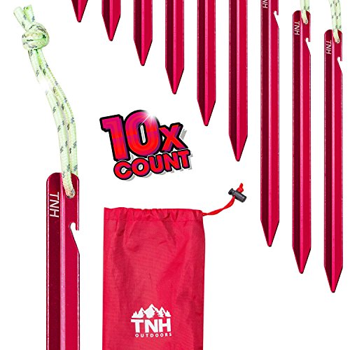 TNH Outdoors 10X Aluminum Tri-Beam Tent Stakes and Bag – Made for Camping – Support A Start Up