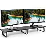 VIVO Black Wood 39 inch Wide Extra Long Desktop Stand | Ergonomic TV, Dual Monitor, Laptop, Keyboard Riser and Desk Tabletop Organizer (STAND-V000DL)