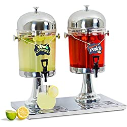 Source One Acrylic Stainless Steel Beverage Dispenser for Juice and Water (1 Pack, Double 2 Gallon)