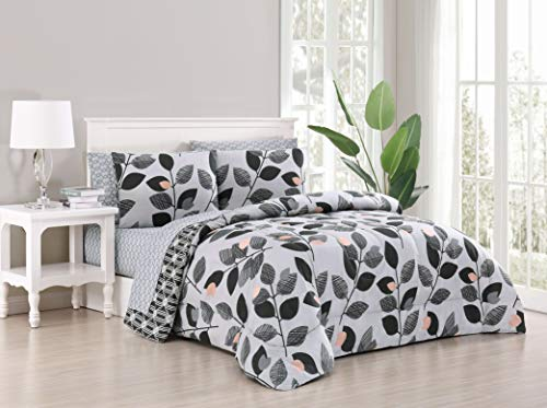 Geneva Home Fashion Kenna Bed in a Bag, Queen, Black/Grey (Bag Queen Under In Bed A 40)