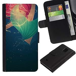 Bleu Rouge Rose Poppy Printemps Eté - la tarjeta de Crédito Slots PU Funda de cuero Monedero caso cubierta de piel Para Samsung Galaxy S5 Mini (Not S5), SM-G800