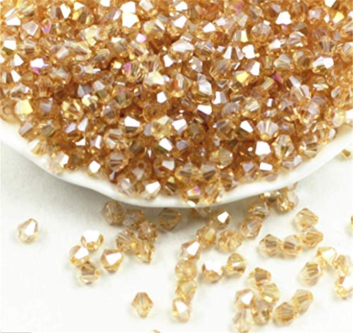 01 Exquisite Golden Champagne AB Glass Crystal 3mm 1000pcs Bicone Beads Loose -