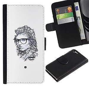 UberTech / Apple Iphone 5 / 5S / Minimalist Portrait Emo Hipster Deep / Cuero PU Delgado caso Billetera cubierta Shell Armor Funda Case Cover Wallet Credit Card
