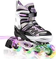 2PM SPORTS Cytia Pink Girls Adjustable Illuminating Inline Skates with Light up Wheels, Fun Flashing Beginner