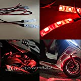 Hoverboard Gold Bluetooth Best Deals - 2pcs 3-SMD Red LED Strip Lights Lamp For Motorcycle Under Glow Accent Lighting