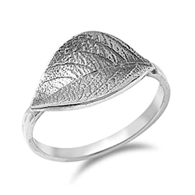 64445f8245332 925 Sterling Silver Leaf Ring: Amazon.co.uk: Jewellery