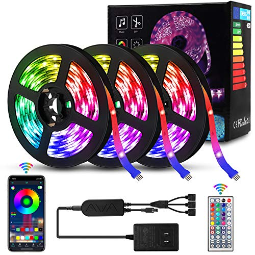 Delicacy 49.2ft LED Strip Lights Music Sync,Color Changing LED Light Strip 5050 RGB Bluetooth App Control,Sensitive Built-in Mic LED Tape Lights with Remote for Home TV Party Decoration