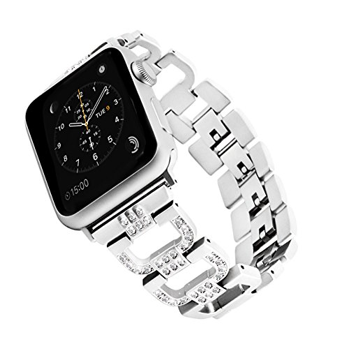 Rockvee Compatible Apple Watch Bling Band Woman, Metal Replacement Wristband Bracelet Bands Nike+, Series 3, Series 2, Series 1, Sport, Edition, 38mm & 49mm, Silver, Black, Champagne Gold, Pink