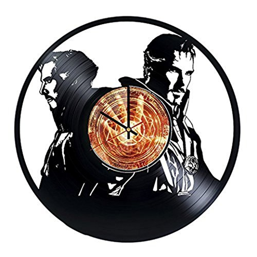 [Superhero Figure Handmade Vinyl Record Wall Clock - Get unique living room wall decor - Gift ideas for his and her – Superhero Silhouette Unique Modern] (Dr Strange Modern Costume)