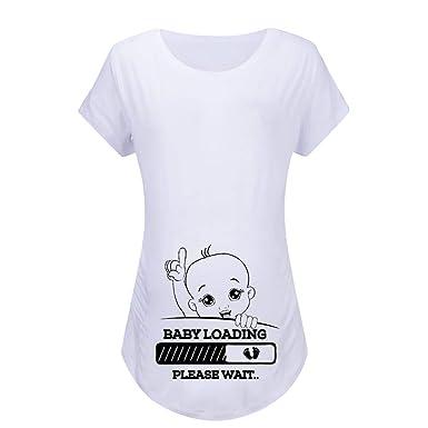 371b3aa1596f1 Voberry shirt Women Maternity Short Sleeve Cartoon Print Tops T-Shirt  Pregnancy Clothes Fun Print: Amazon.in: Clothing & Accessories
