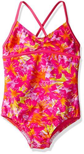 Speedo Girls Jungle Floral One Piece Swimsuit, Pink, Size 10