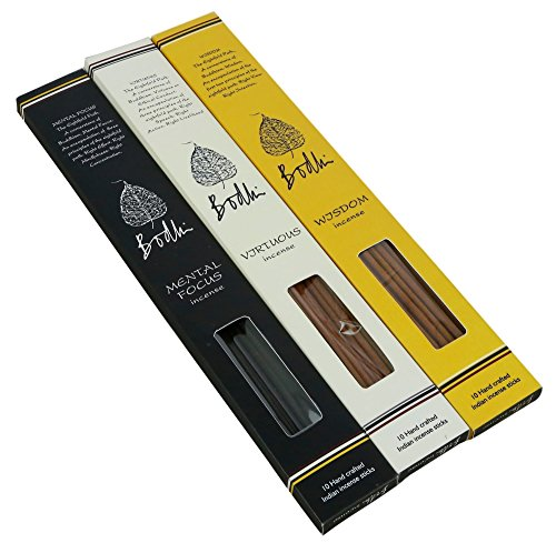 Incense Sticks Temple (Bodhi Buddhist Incense Sticks for Home Temple - Virtuous, Wisdom and Mental Focus Fragrances, Handcrafted total 30 sticks)