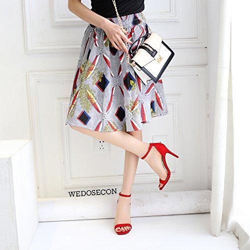 Scarpe Tacco Alla Casual Sandali Per Tallone Da rosso 7cm Aperte Alto Signore Le Ruiren Caviglia Donna 4AgHRw8