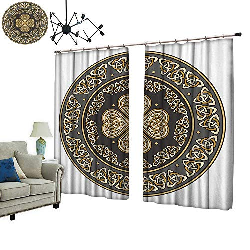 (PRUNUS Curtain with Hook celti Shiel Decorate a cient Europe Isolate on White Blackout Draperies for Bedroom,W72)
