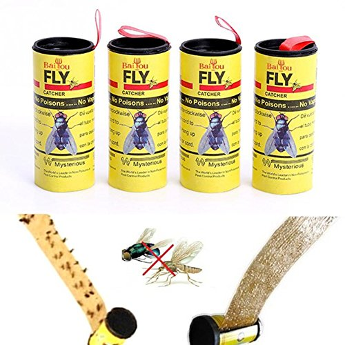 Muhan Sticky Fly Paper Strips Fly Catcher Trap Disposable Non-Toxic Fly Ribbons Flying Plant Insect Control