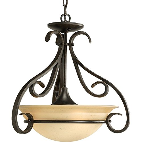 (Progress Lighting P3843-77 3-Light Semi-Flush with Tea Stained Bell-Shaped Glass Bowl and Squared Scrolls and Arms, Forged Bronze)