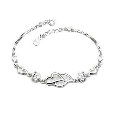 e68633744 Amazon.com: 925 Sterling Silver Bracelet for Women Crystal Heart Fashion  Hand Chain Bracelets for Girls: Jewelry