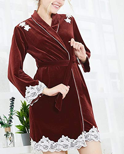 notte e rosso singolo da abito maniche Pigiama caldo e camicia velluto pesante pigiama DEED lunghe pezzo autunno confortevole signore inverno HT018q