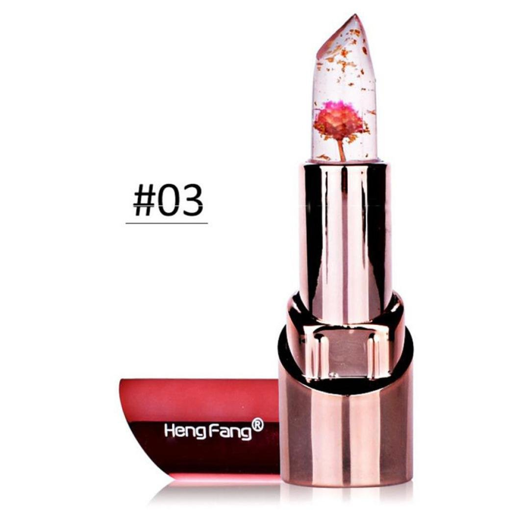 Mingfa Jelly-Lippenstift/Lipgloss, langlebig, feuchtigkeitsspendend, wasserfest, transparent mit Blüte, verändert je nach Temperatur die Farbe, für Frauen und Mädchen D transparent mit Blüte Mingfa.y
