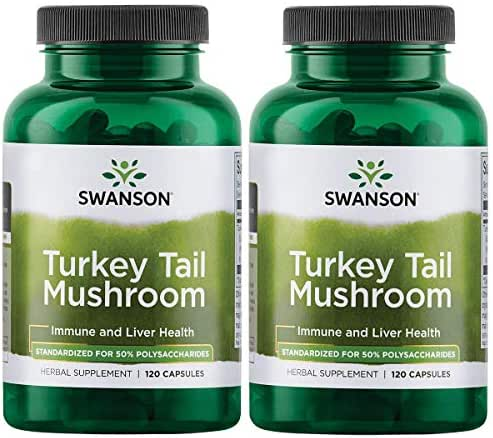 Swanson Turkey Tail Mushroom Supplements Immune Support Liver Support Cellular Health 500 mg 120 Capsules (2 Pack)