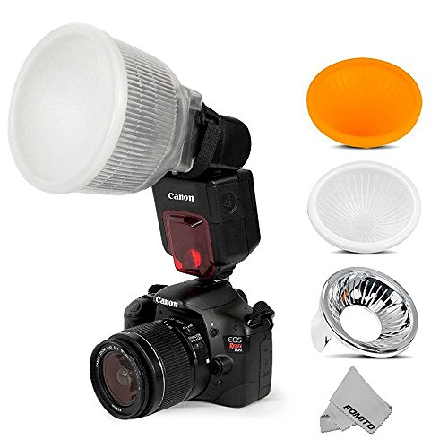 Fomito Universal Cloud Lambency Flash Diffuser + 3 pcs Covers White, Silver & Orange Set for Flash Speedlite