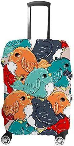 スーツケースカバー 伸縮素材 トラベルダストカバー キャリーカバー 紛失防止 汚れや傷防止 お荷物保護 トラベルダストカバー 着脱簡単 通気性 海外旅行 出張用 便利グッズ 男女兼用 かわいい鳥の赤ちゃんイラスト