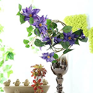 LI HUA CAT Artificial Flowers Clematis Flower Arrangement for Table Desk Room Shop Photography Wedding Decor Pack of 2 1