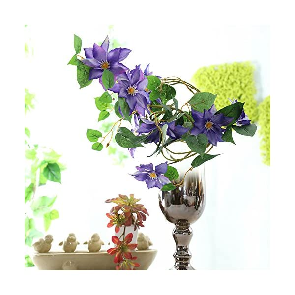 LI-HUA-CAT-Artificial-Flowers-Clematis-Flower-Arrangement-for-Table-Desk-Room-Shop-Photography-Wedding-Decor-Pack-of-2